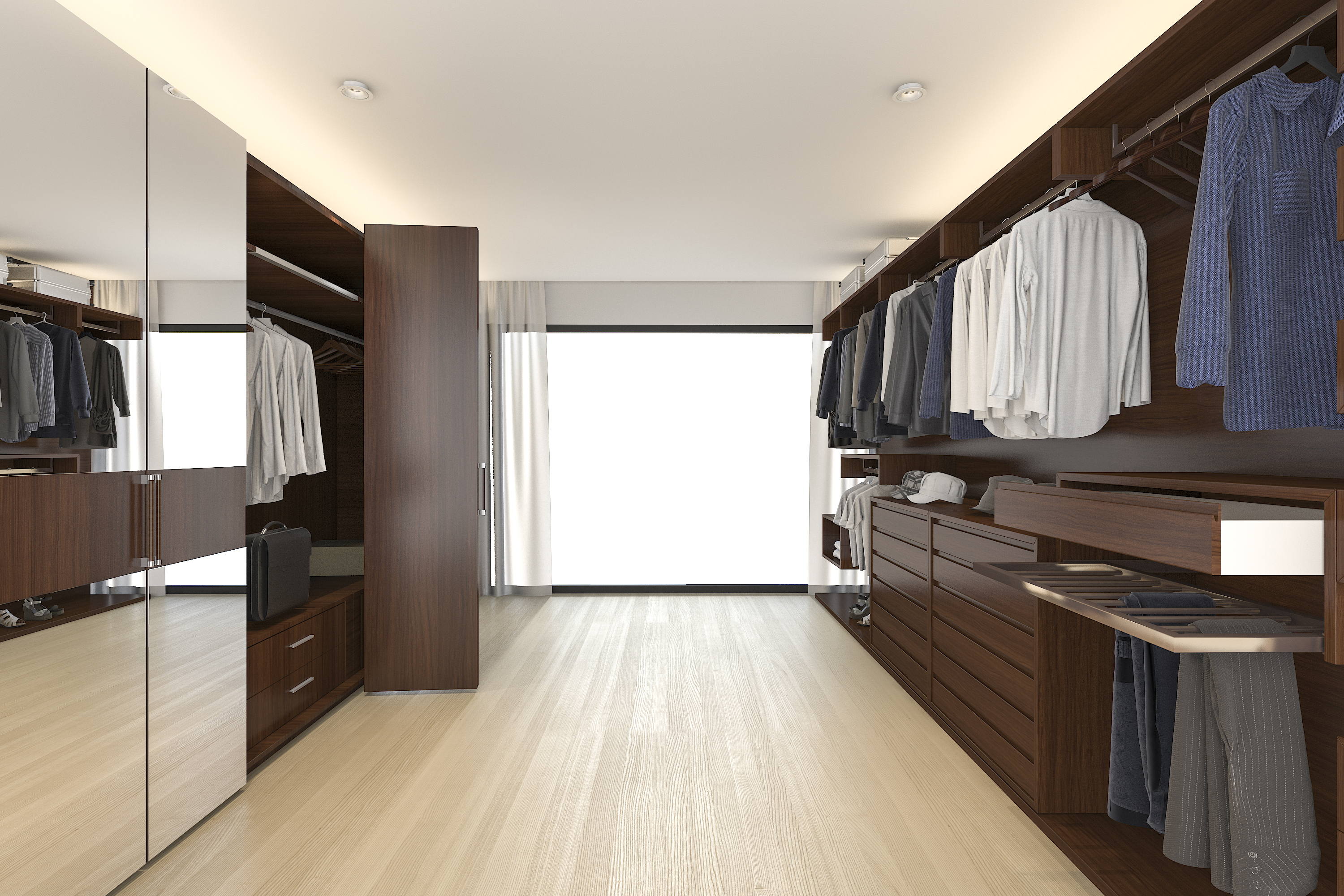 3d rendering wood wardrobe and walk in closet near window